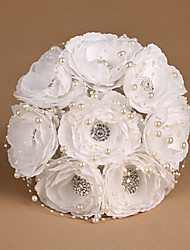 Pure White Silk Flowers with Pearl Wedding Bouquet