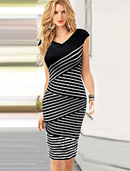 Monta Summer Womens Stripes Dress In Large Size