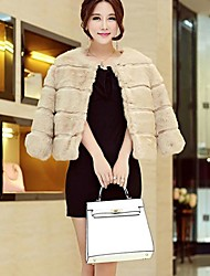 Women's Round Collar Rabbit Fur Coat