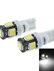 T10(149 168 W5W) 2.5W 5X5060SMD 160-190LM 6500-7500K White Light for Car Parking Lamp(DC12-16V/A Pair)