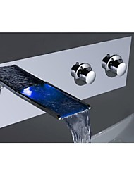 charmingwater® chromé contemporaine changement de couleur de LED (support mural) cascade lavabo robinet