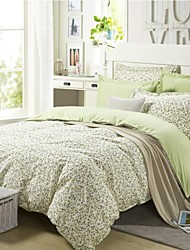 Shuian® Duvet Cover Set,4 Piece Suit 100% Cotton Comfort Simple Modern Style with Flower Pattern