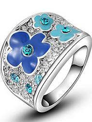 Anéis Pesta / Diário / Casual Jóias Liga / Zircão Feminino Anéis Statement6 / 7 / 8 Fronha / Transparente / Azul Real / Prateado