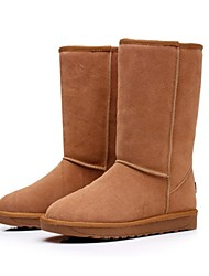 couro de vaca longo botas térmicas das mulheres