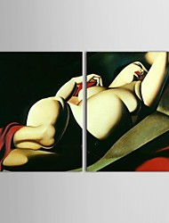 Hand-Painted People Two Panels Canvas Oil Painting For Home Decoration