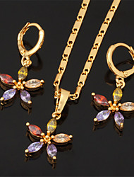 nuevo collar pendientes zirconia colgante cúbicos aaa + de alta calidad establecidos oro 18k plateó el regalo de la joyería para las mujeres