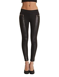 Women's Black Skinny Pants/Legging, Leather Patchwork And Zipper