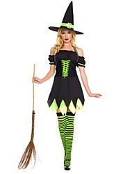 Cute Witch Irregular Style & Short Sleeves Black Terylene Halloween Costume