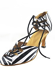 Customizable Women's Dance Shoes Latin Satin Customized Heel Black/Blue/Red/White