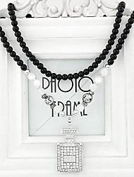 European Style Fashion Metal Perfume Bottle Long Flash Rhinestones Necklace