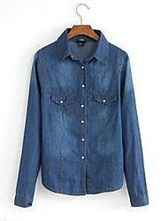 Mulheres da Turn Down Casual Ácido Wash Denim Shirt