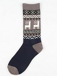 5pairs meias alpaca algodão cartoon retro das mulheres (cor colocação aleatória)