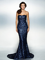 TS Couture® Formal Evening Dress - Dark Navy Plus Sizes / Petite Trumpet/Mermaid Sweetheart Court Train Sequined
