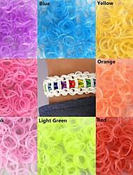 600pcs fluorescentes twistz silicone pulseiras de cores do arco-íris tear DIY claras com gancho&cor s-clips sortidas