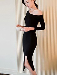 Women's Party/Cocktail Sexy Bodycon Dress,Solid Off Shoulder Midi Long Sleeve Red / Black Others Spring / Fall