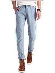 Pure Color occasionnels à long lin pantalons pour hommes