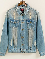 Men's Autumn Winter Slim Hole Explosion Models Washed Denim Jacket