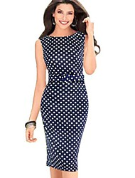 Women's Sleeveless Polka Dots Bodycon Slim Dresses