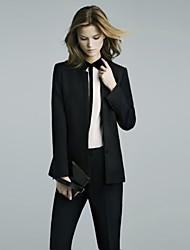 Women's Spring / Fall Blazer Long Sleeve Black Medium