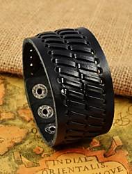 chevrons noir bracelets en cuir larges de la mode hommes