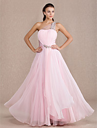 TS Couture Formal Evening / Prom / Military Ball Dress - Candy Pink Plus Sizes / Petite A-line One Shoulder Floor-length Chiffon / Stretch Satin