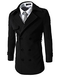 Lesen Men's Solid Color with Double Buttons Trench Coat O
