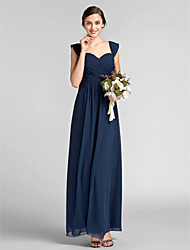 Floor-length Chiffon Bridesmaid Dress - Dark Navy Plus Sizes / Petite Sheath/Column Sweetheart