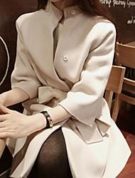 manga longa gola temperamento tweed cinto sobretudo das mulheres yemeimaowang