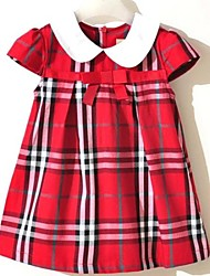Girl's Blue / Red Dress,Check Cotton Blend All Seasons