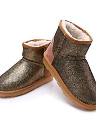 shinning couro de vaca curto botas térmicas das mulheres