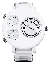 Shinuo Men's All Match Waterproof Pu Leather Four Timezone Quartz Watch