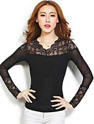 Women's Lace Black Blouse , V Neck Long Sleeve Lace/Mesh