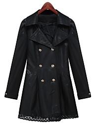 elegante abrigo de cuero de las mujeres delgado cruzado de la PU (con la correa)
