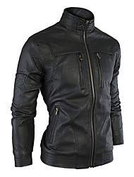 GMIG Men's Long Sleeve Slim Causual Stand Collar Leather Jackets