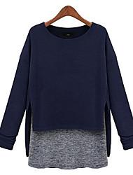 manga longa magro moda gola redonda temperamento t-shirt irregular das mulheres zebra