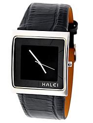 v6 analógico lujo cubierta de plata genuina de cuero reloj de pulsera de cuarzo de los hombres de negro