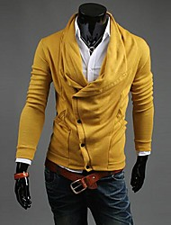 Men's Casual/Daily Work Cardigan,Solid Long Sleeve Cotton