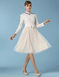 Women's Ruff Collar Dress , Chiffon/Lace/Mesh Beige Vintage/Casual/Lace/Work