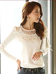Women's Lace Red/White T-shirt , Casual/Lace/Party Round Neck Long Sleeve Lace/Mesh/Beaded