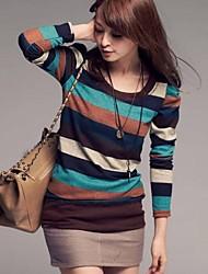 yiqi® Rundkragen Pullover Streifen-T-Shirt der Frauen