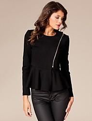 Women's Fashion Round Neck Long Sleeved Slim Short Coat