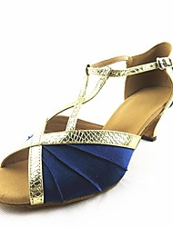 Customizable Women's Dance Shoes Latin Satin Customized Heel Blue