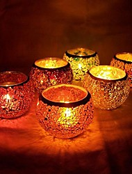 Wedding Décor Glass Mosaic Candle Holder (Random Color)