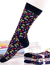 Retro lazer meias de algodão floral das 5pairs mulheres (cor aleatória de colocação)