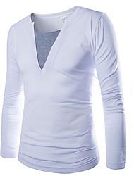 Laienji V-Neck Bottoming T-Shirt   T34(White)