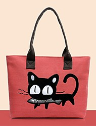 Women's Korea Stylish Fashion Casual Canvas Cartoon Cat Totes