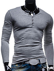 Laienji Solid Color Causal V-Neck Long Sleeve Bottoming T-Shirt  8712(Light Gray)