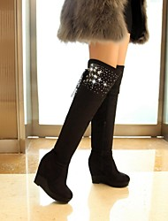 Women's Shoes Round Toe Wedge Heel Over The Knee High Boots with ZIpper More Colors available
