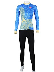 PaladinSport Women's Spring and Summer and Autumn Style 100% Polyester Blue Butterfly Long Sleeved Cycling Suits