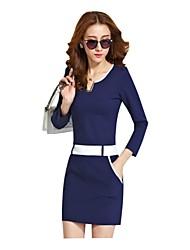 Женские V шеи лоскутное длинным рукавом ол Bodycon платье